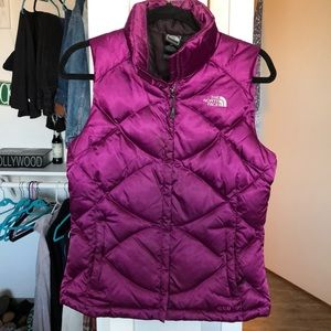 Purple north face puffer vest